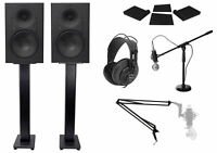 "2) Mackie XR824 8"" Powered Studio Monitors+Stands+Pads+Headphones+Mic+Mount+Boom"