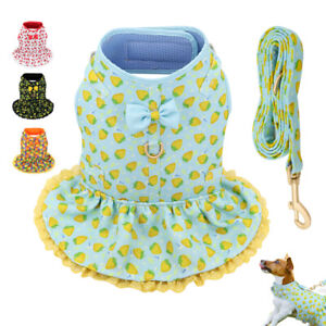 Cute Floral Small Pet Girl Dog Dresses Harness & Leash Puppy Cat Summer Clothes