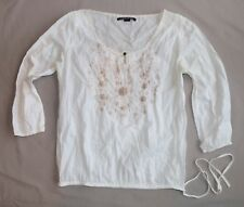 Lucky Brand S White Sheer Cotton Embroidered Flowers Peasant Style Blouse