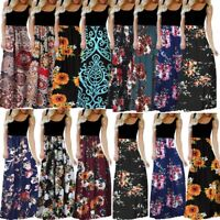Women's Ladies Summer Casual Sleeveless O-neck Print Maxi Tank Long Dress S-3XL