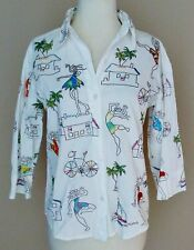 Vtg Tropical Beach Embroidered Blouse Button Down Unique Art Hawaiian SMALL S