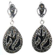 Natural Black Agate Teardrop Gemstone 925 Sterling Silver Marcasite Earrings