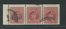 CANADA # 254-b Used KING GEORGE Vl, BOOKLET PANE OF THREE (4053)