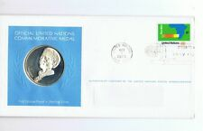 1973 UNITED NATIONS SILVER MEDAL & FDC stamp - NAMIBIA