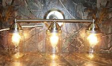 Mason Jar Light 3-Light Brushed Nickel Vanity Light w/ Authentic Ball Mason Jars