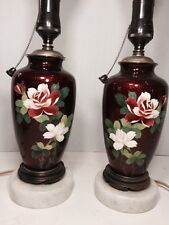 Magnificent Vintage Pair Of Japanese Enamel Red Table Lamp W/Rose 🌺 %40 OFF