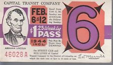 Trolly/Bus pass capital Transit Wash. DC--1944 Lincoln-----75