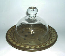 Studio Pottery Etched Glass Dome On Stoneware Plate - Butter / Cheese Dish (M.M)
