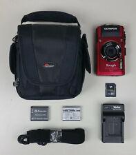 Olympus Stylus Tough TG-4 Waterproof 16MP Red Digital Camera Bundle
