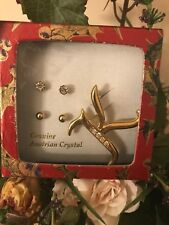 """jewelry Set Two Pair Of Stud Earring W/ """"K"""" Letter Pin Gold Austrian Crystal"""