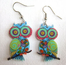Pair Acrylic Psychedelic Blue Green Owl Dangle Drop Earrings -Hippy Boho Vintage