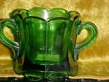 Antique Vintage Dark Green/Gold Handled Depression Glass Open Sugar Column  os2