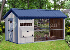 6' x 12' Large Walk in Gable / A-frame Roof Style Chicken Coop Plans  # 80612CG