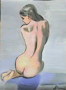 Painting modern sketch nude original fantasy Dora Pilssala acrylic 21 x 28 cm