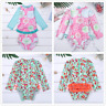 Infant Baby Girls Long Sleeve Floral Printed Swimsuit Bathing Suit Rash Guard