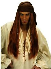 Mens Caribbean Pirate Wig Ginger w/Bandana Jack Sparrow Captain Peter Pan