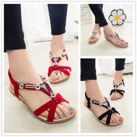 PD  Damen Sandalen Strand Flach Foothold Schuhe Flip Flops Tong Riemen Sandals