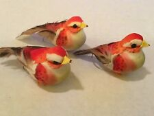 "SET OF 3! COLORFUL PINK ACCENT BIRDS FOR FLORAL CRAFTS WREATHS!  3"" LONG"