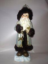 "D0401 8"" German Old World Santa Claus Christmas Ornament Decoration Blue Brown"