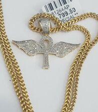10K Yellow Gold Ankh Angel Wing Cross Pendant Charm Diamond 24 Inch Franco Chain