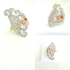 Elegante 18k Oro Plateado Diamante Boda Rubí de Cristal de Color Rosa/anillo nupcial-tamaño 7