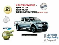 FOR GREAT WALL STEED 5 2.0 DT PICKUP 2012-> OIL AIR FUEL 3 FILTER SERVICE KIT