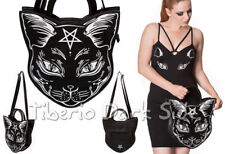 Banned Nemesis Black Cat Shaped Pentagram Occult Nu Goth Shoulder Bag Handbag