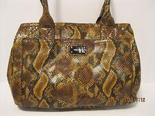 Purse Nine West Black Brown Faux Snake Skin 3 Compartment Shoulder Bag NWT L19