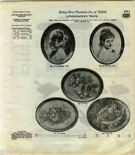 1916 ADVERT Lithograph Serving Trays Tray 5 Images Nasturtium Butterfly Girl