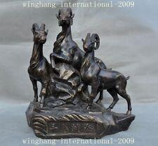 Old Chinese Bronze feng shui 三阳开泰 Three Sheep Goat Kai Tai Animal Statue