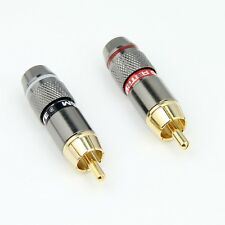 2x Metel RCA Phono Male Plug Non Solder Solderless Connector Adapter Terminal AV