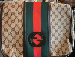 "Gucci GG Crossbody Fabric Messenger Bag-Approximately 11"" tall by 14"" wide by 3"""
