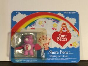 Vintage Care Bears Share Bear with candy PVC Figure 1984 Miniature Mini