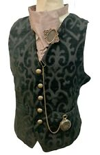 Steampunk Gothic Raven Black  Regal Waistcoat Ensemble Cravat And Compass