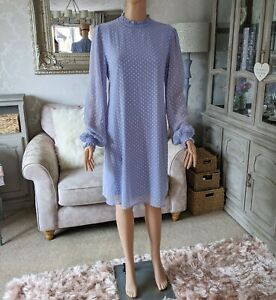 M&S Collection Ladies 12 Swing Dress Periwinkle Blue High Neck Spotted BNWT