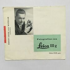 VINTAGE LEAFLET MANUAL IN SPAIN FOR LEICA IIIg CAMERA -FREE SHIPPING
