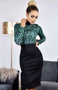 Black Leopard Print Evening Party Sexy Stretch Bodycon Midi Wiggle Pencil Dress