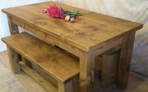 Solid Real Wood Dining Table And Benches Set Rustic Plank Pine Indigo Furniture