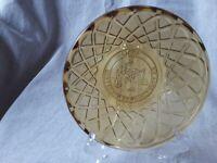 Amber Depression Glass Vintage Plate