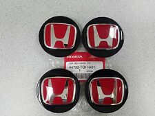 SET OF 4 NEW GENUINE HONDA TYPE R BLACK WHEEL CENTER CAPS W/ RED H 44732-TGH-A01