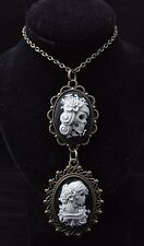 "24"" Anti-Gold Resin Gypsy Sugar Skull with Flowers Cameo Pendant Necklace"