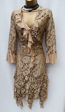 KAREN MILLEN Vintage Beige Gold Lace Top & Skirt Cocktail Party Suit Dress 12-14