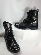Alexander Wang Lyndon Women Shoes Black Leather Boots Metal Toe Cap EU 39 US 9