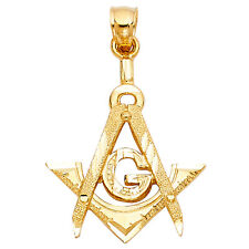 14K Solid Yellow Gold Diamond Cut Freemason Masonic Charm Pendant 2.8 grams
