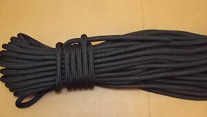"""NEW 7/16"""" (11mm) x 50' Double Braid Static Line, Safety Rope, Black"""