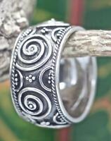 Handmade Solid Sterling Silver .925 Bali Swirl Design Promise Band Ring Cz Size.