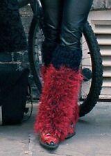 VINTAGE LEG WARMERS GOTH PUNK CYBERPUNK CYBERDOG RAVE STYLE FLUFFY RED BLACK