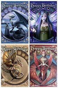 Anne Stokes Art Nouveau Dragon Fantasy Birthday Greeting Card Steampunk Gothic