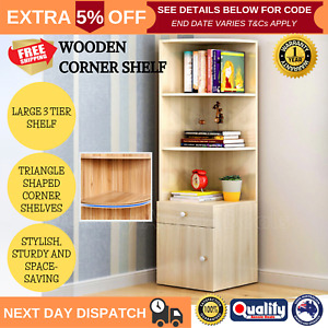 White Wooden Oak Corner Shelf Cabinet Drawer Photo Display Case Bookshelf 3 Tier