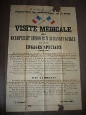 AFFICHE GUERRE 1916 SEINE VISITE MEDICALE